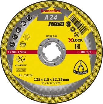 10 x Klingspor A 24 EX Schruppscheiben | X-LOCK, 125 x 6 x 22,23 mm gekröpft | 351252