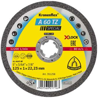25 x Klingspor A 60 TZ Trennscheiben | X-LOCK, 115 x 22,23 mm gerade | 351259