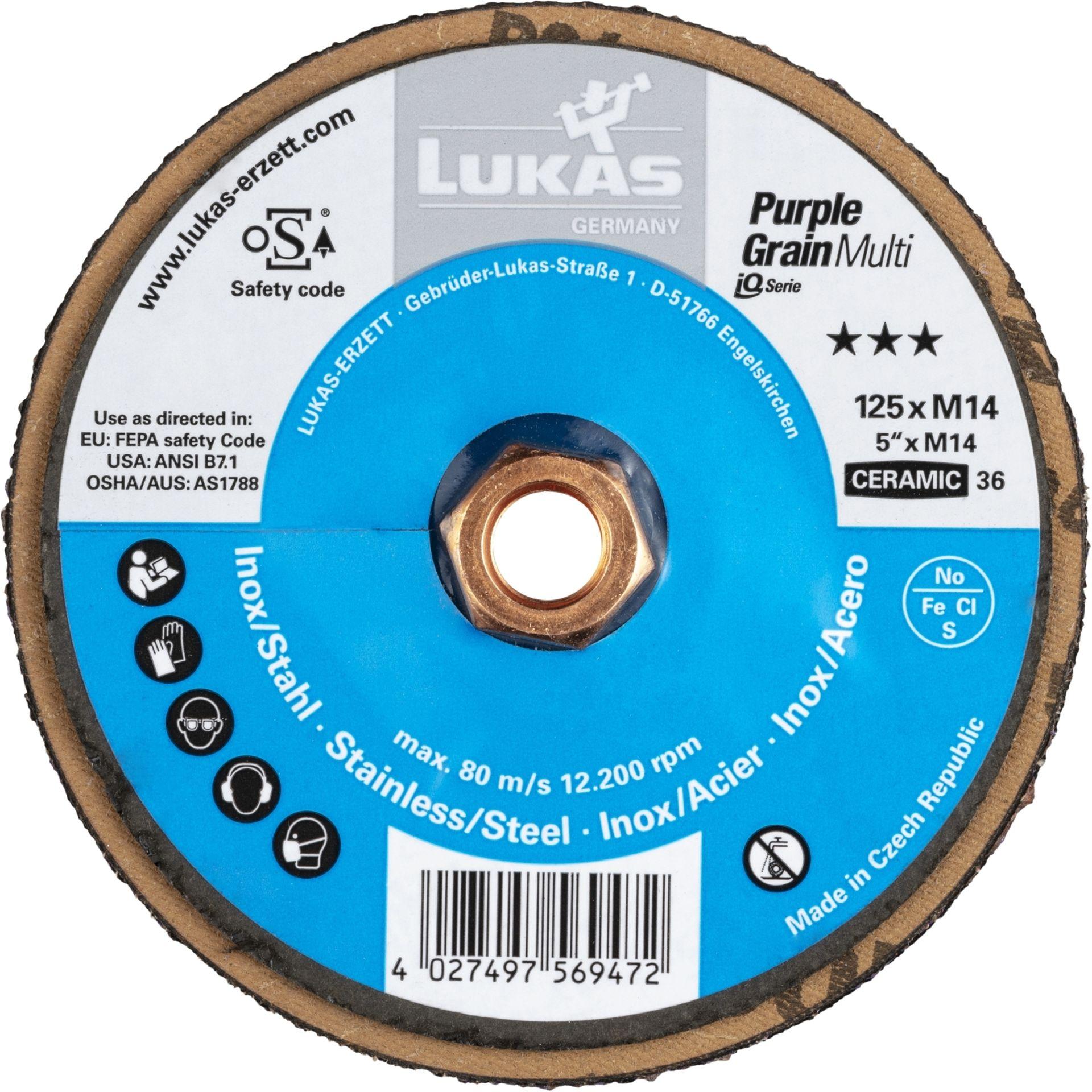 10x LUKAS Kompaktschleifteller PURPLE GRAIN Multi universal Ø 125 mm Korn 36