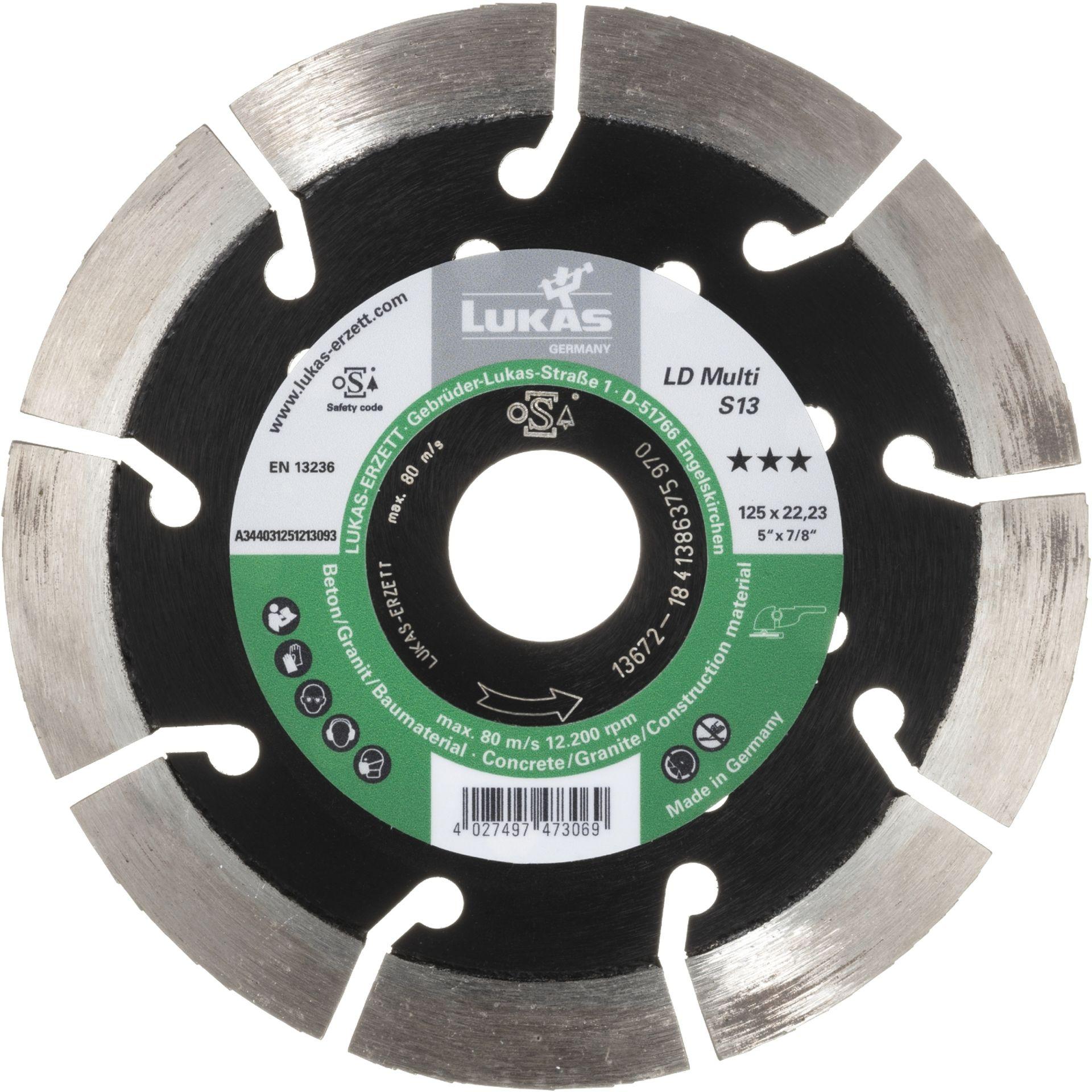 LUKAS Diamanttrennscheibe LD Multi S13 für Beton/ Baumaterial Ø 125 mm
