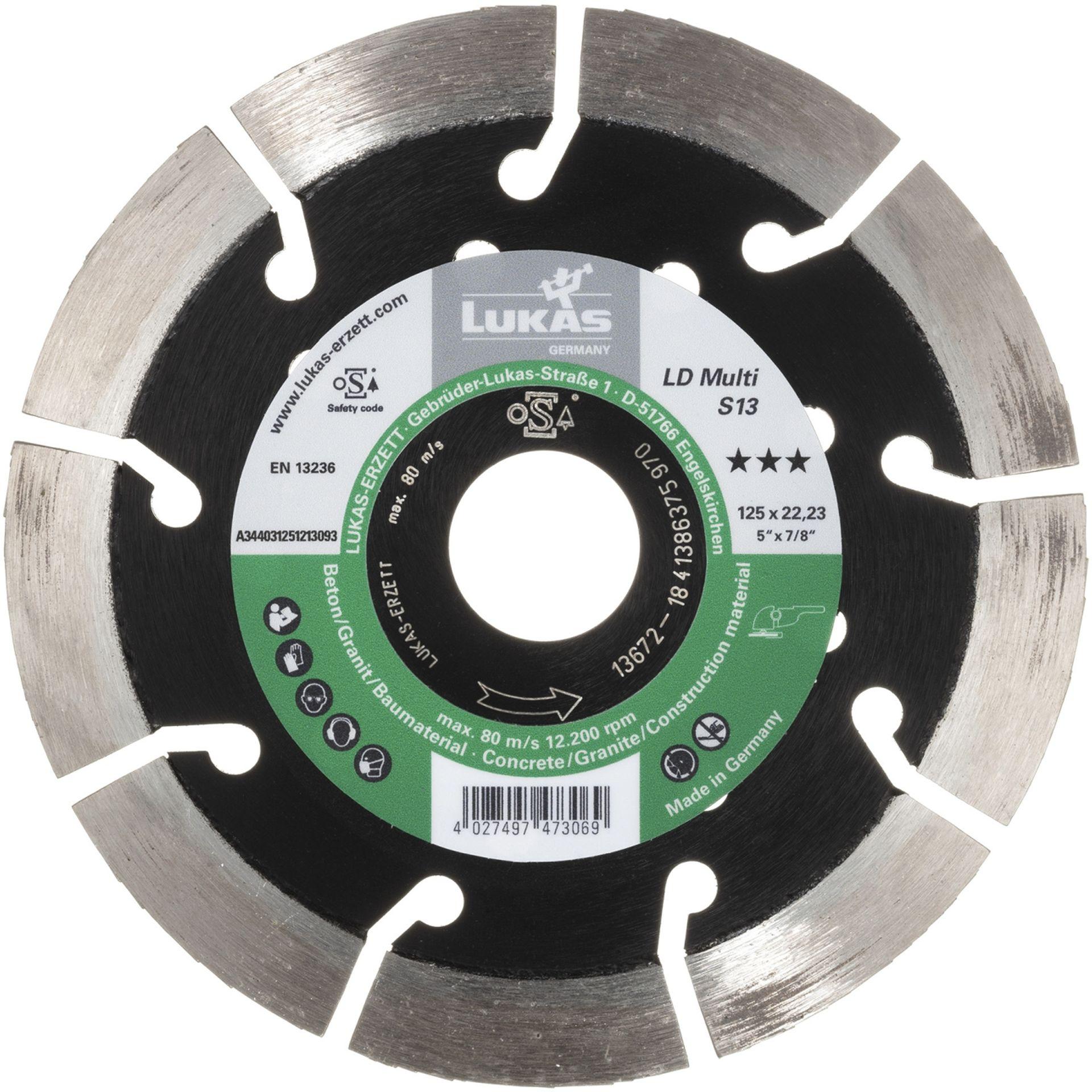 LUKAS Diamanttrennscheibe LD Multi S13 für Beton/ Baumaterial Ø 115 mm