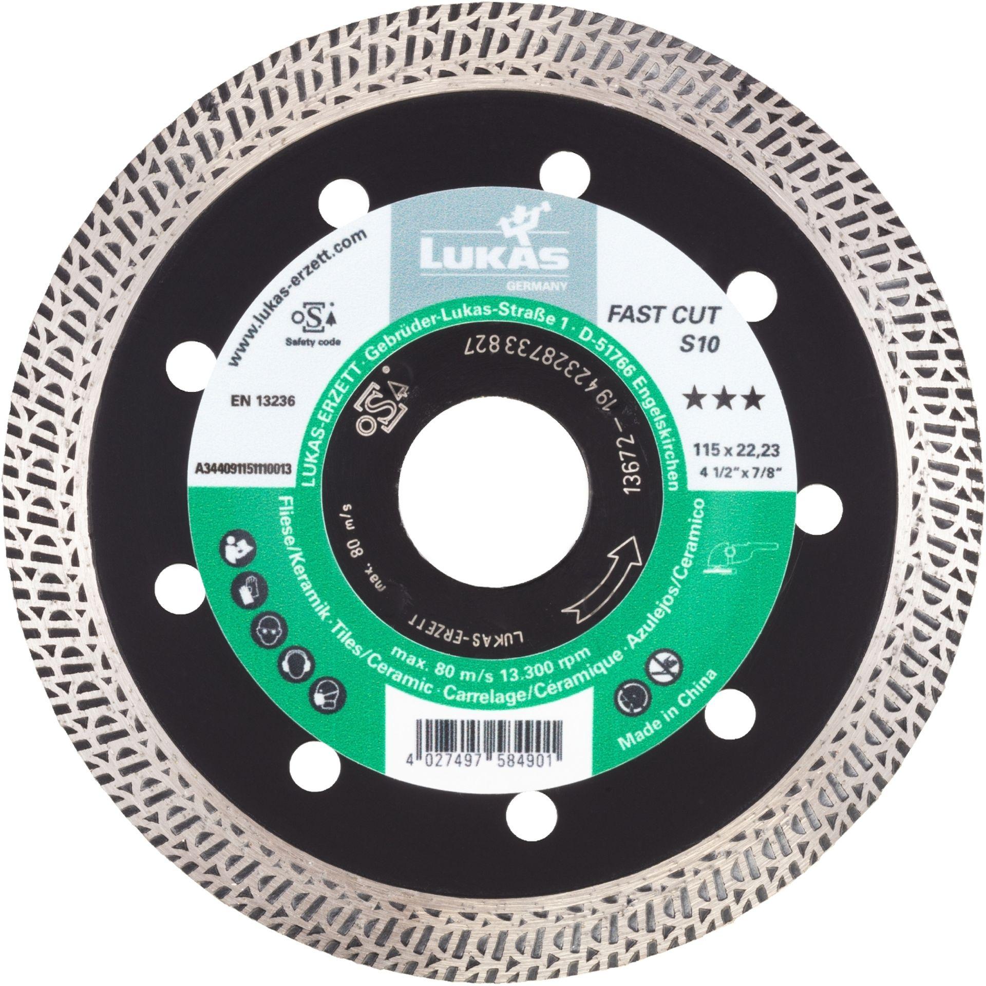 LUKAS Diamanttrennscheibe FAST Cut S10 für Stein/Fliesen Ø 115 mm