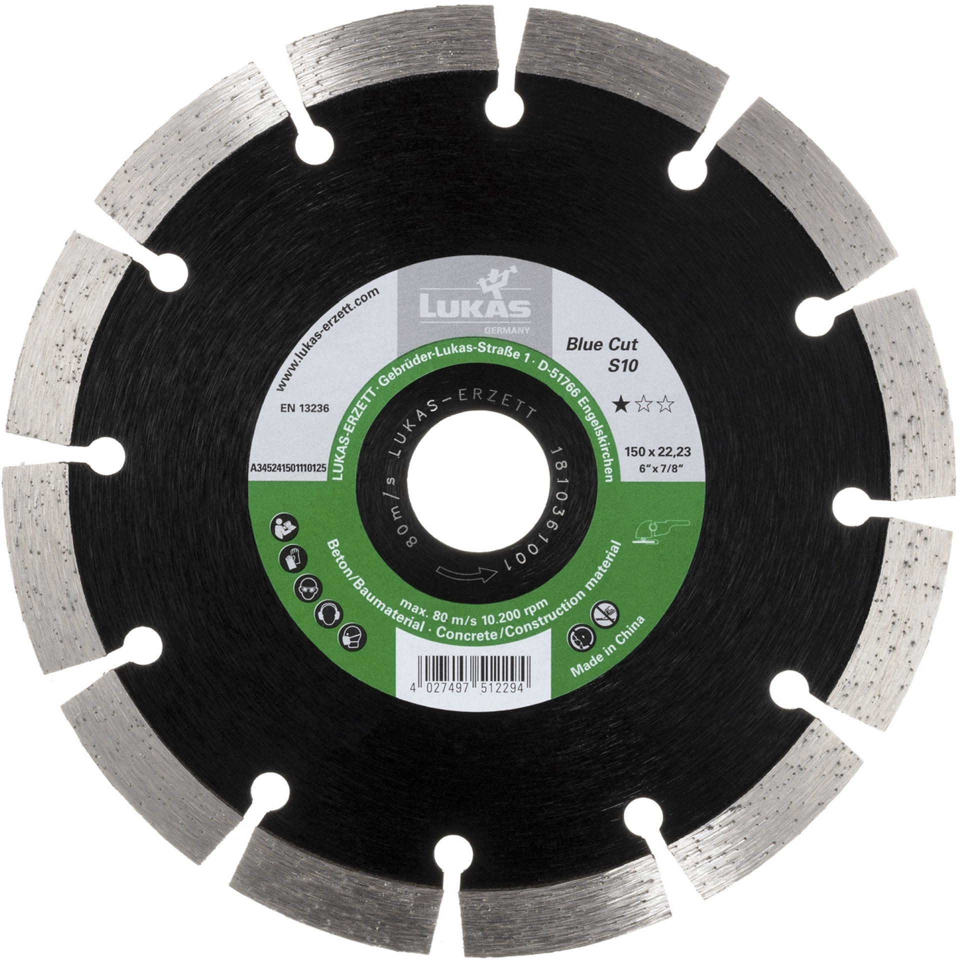 LUKAS Diamanttrennscheibe Blue Cut S10 für Stein/Beton/Asphalt Ø 125 mm