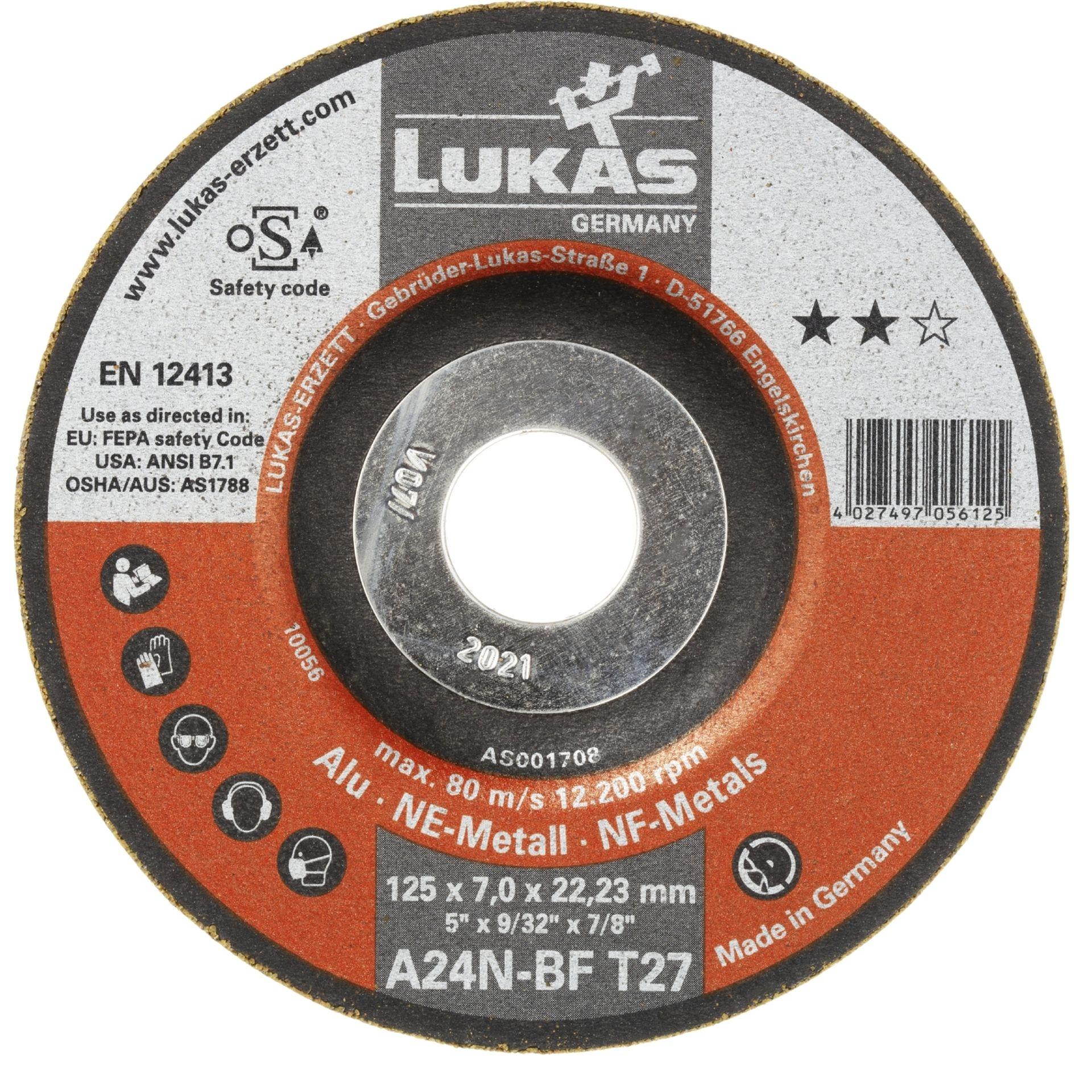10x LUKAS Schruppscheibe Schruppscheiben T27 Alu 125x7 mm gekröpft A24N-BF