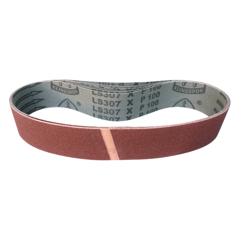 6er-Set Klingspor Gewebe Schleifband Schleifbänder LS307X 100x1220 mm Korn Mix