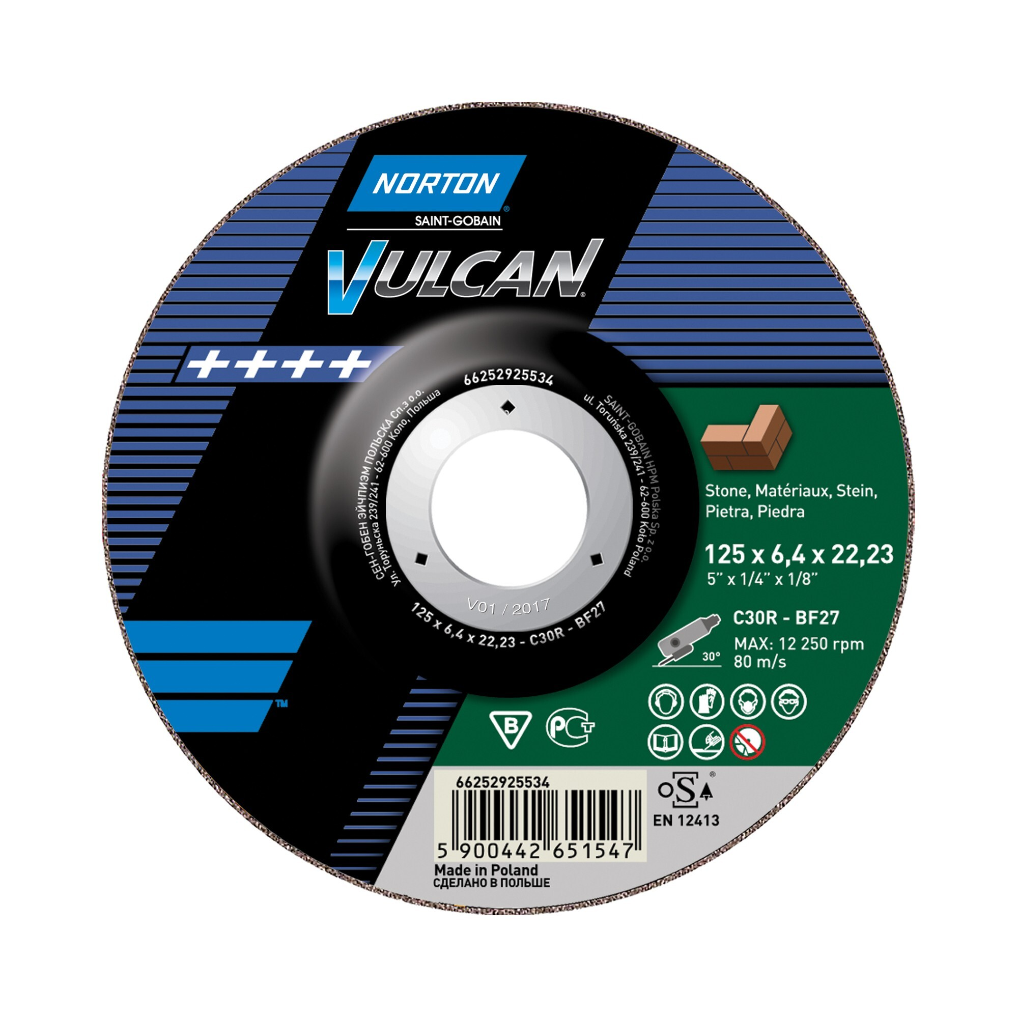 10 x NORTON Schruppscheibe gekröpft |  115x6,4x22,23  C 30 R Vulcan | 66252925533