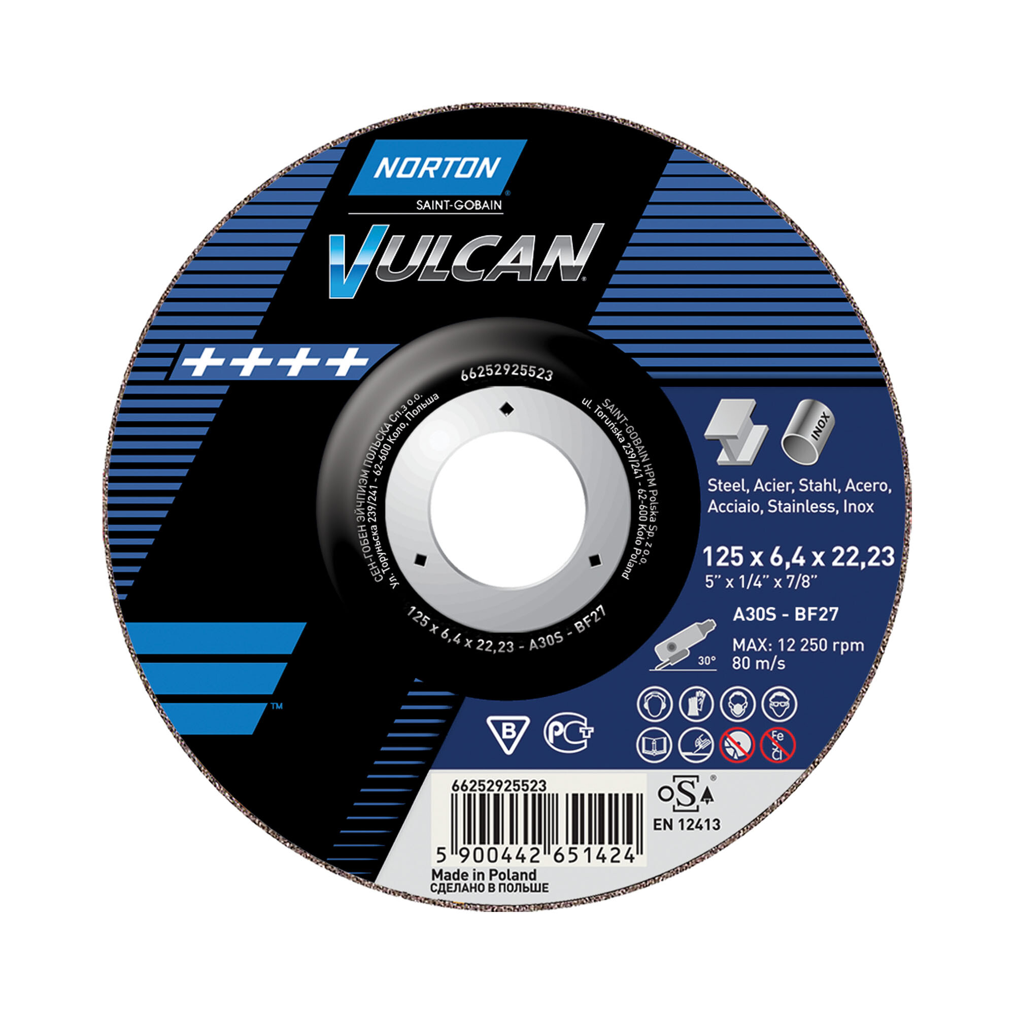 10 x NORTON Schruppscheibe gekröpft | 115x6,4x22,23  A 30 P Vulcan Fast Cut | 66252830803