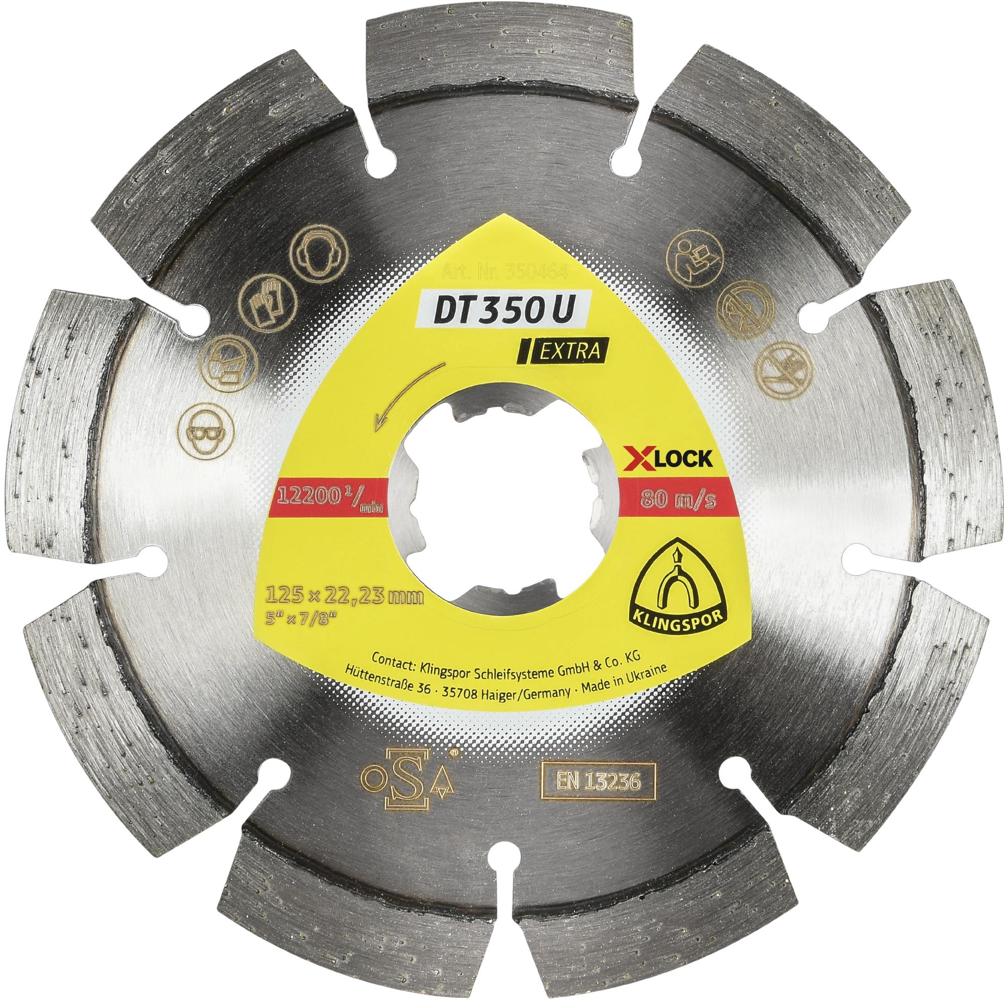 Klingspor DT 350 U Diamanttrennscheiben | X-LOCK, 115 x 2,4 x 22,23 mm 8 Segmente 33 x 2,4 x 10 mm, Standardverzahnung | 350463
