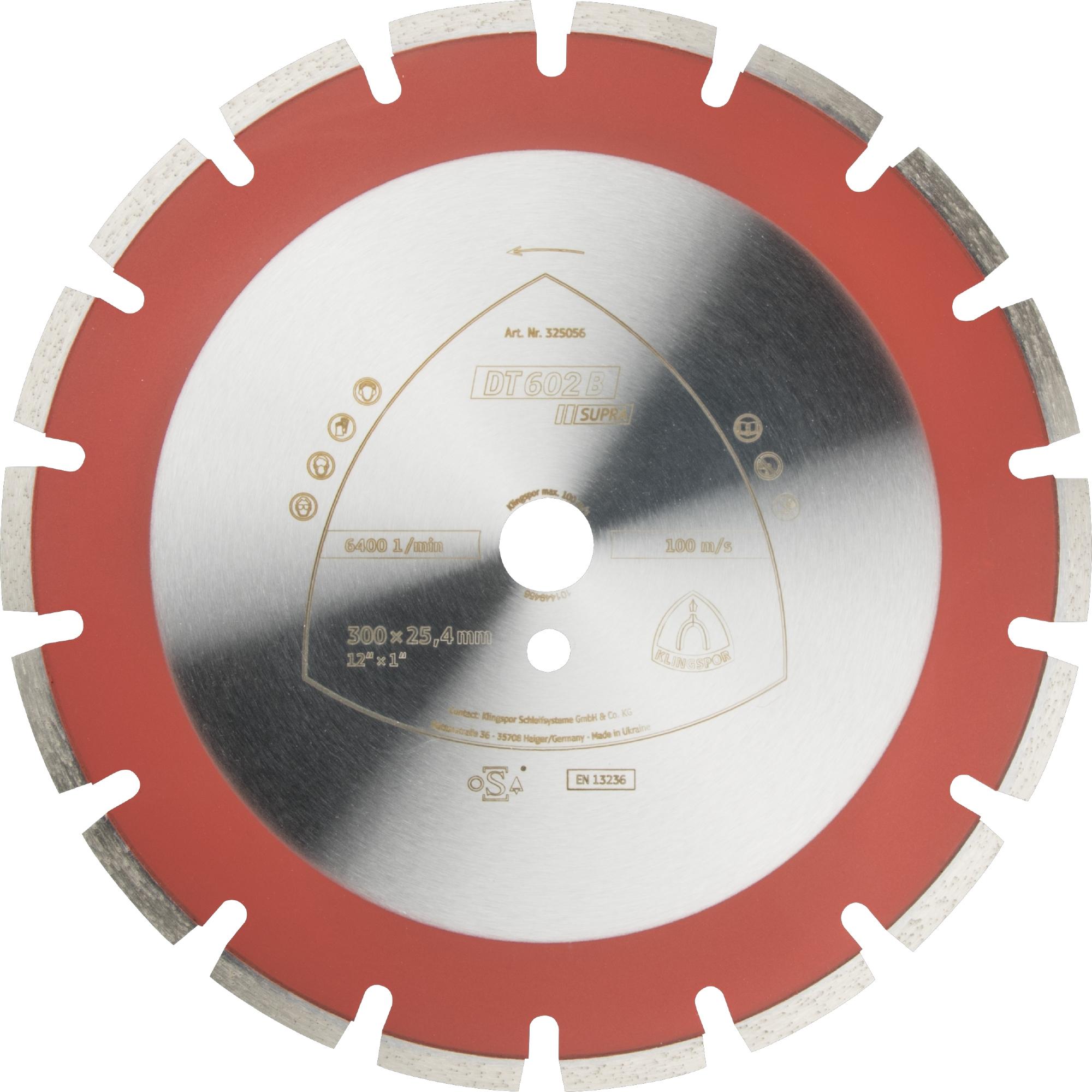 Klingspor DT 602 B Diamanttrennscheiben | 400 x 3,6 x 25,4 mm 24 Segmente 40 x 3,6 x 9 mm, Weitverzahnt | 349242