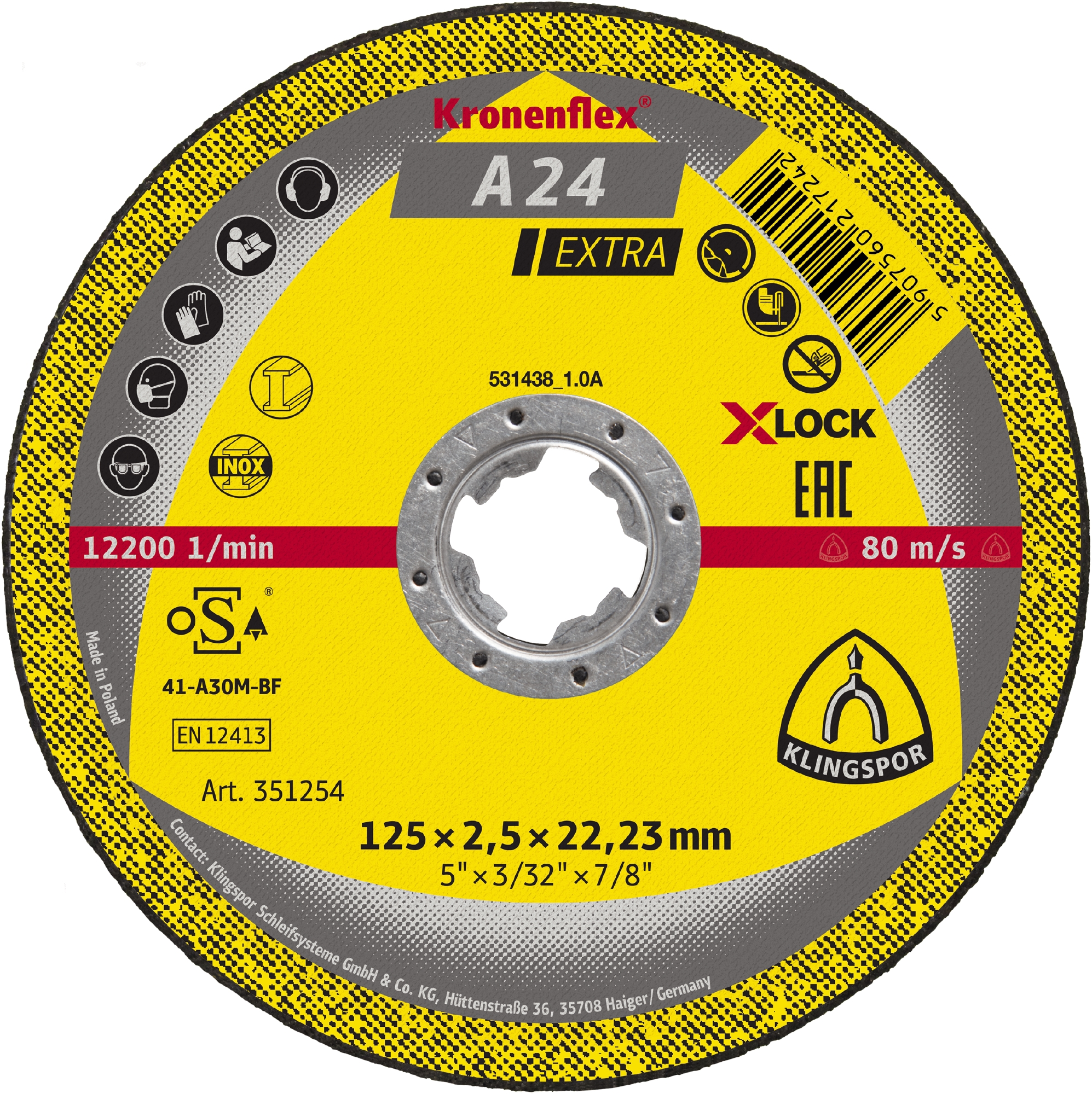 10 x Klingspor A 24 EX Schruppscheiben | X-LOCK, 115 x 6 x 22,23 mm gekröpft | 351253