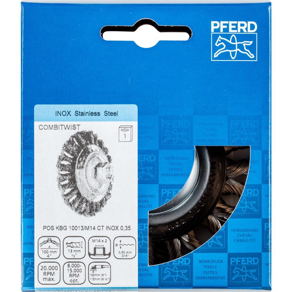 Pferd Kegelbürste mit Gewinde, gezopft POS KBG 10013/M14 CT INOX 0,35 | 43313013