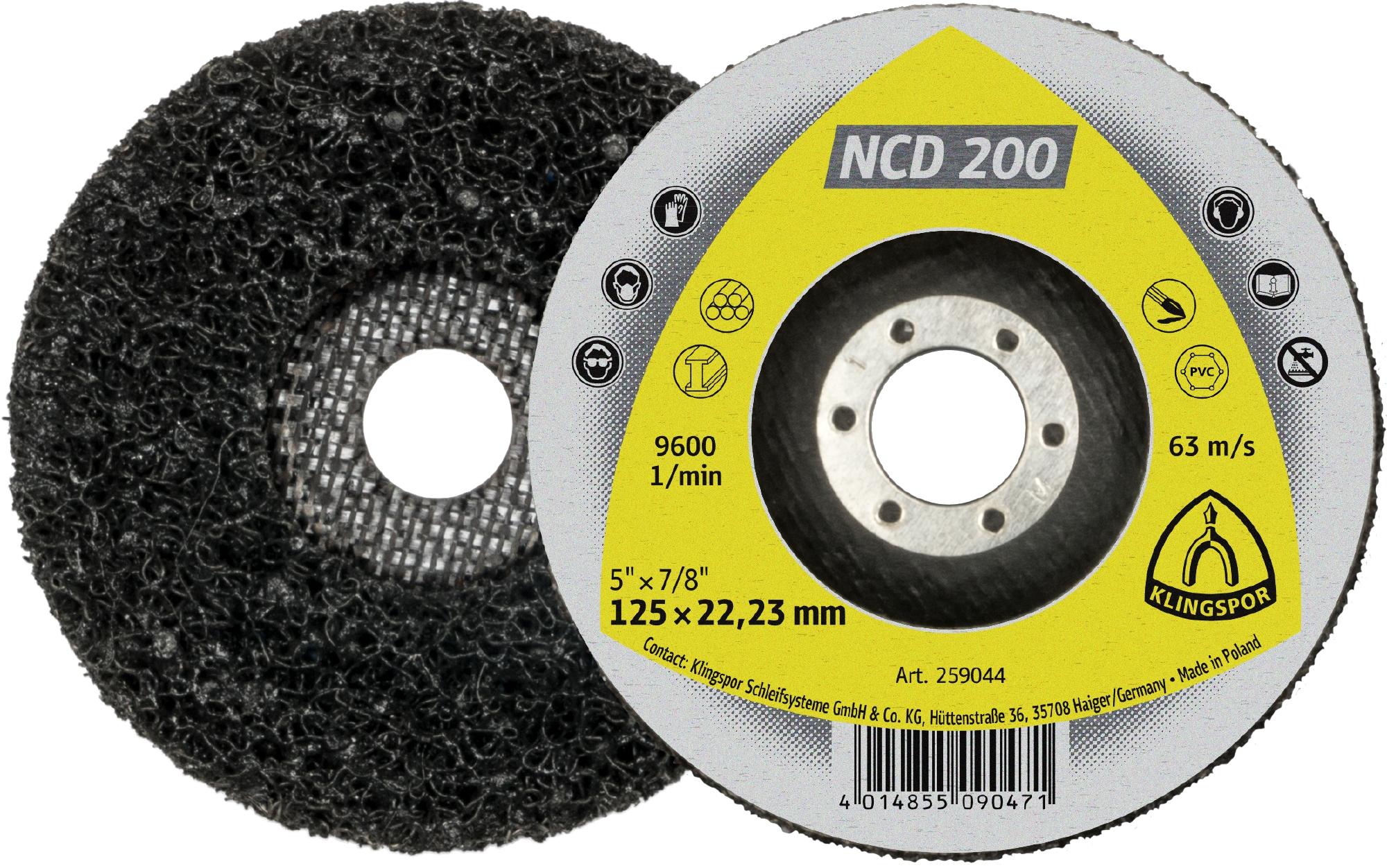 5 x Klingspor NCD 200 Reinigungsscheibe, 115 x 22,23 mm Siliziumkarbid gerade | 259043